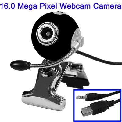 LUPO 16 Megapixel Driverless (Plug & Play) PC Skype Webcam & Mic with 360 degree rotation - BLACK