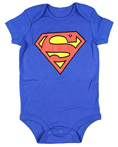 DC Comics Superman Onesie Romper (6 Months, Blue)