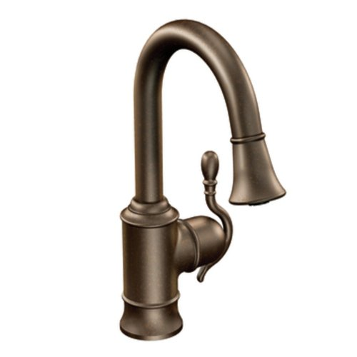 Moen S6208ORB Woodmere One-Handle High Arc Pulldown Single Mount Bar Faucet, Oil Rubbed Bronze