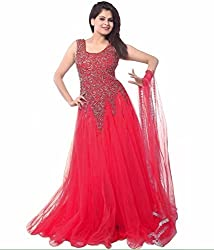 Clickedia Women's Net Semi Stitched Anarkali Salwar Suit (Red Net Gown_Red)