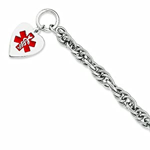 Genuine .925 Sterling Silver Engravable Enameled Heart Medical Id Bracelet 23 Grams 7.75 Inch Length. 100% Satisfaction Guaranteed.