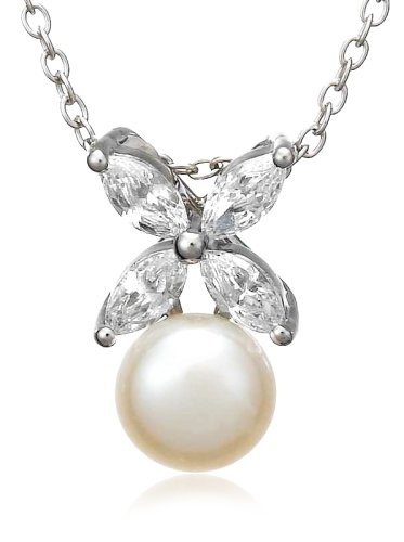 Platinum Plated Sterling Silver Freshwater Cultured Pearl Earrings and Pendant Set