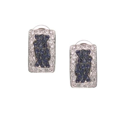 C.Z. AND SAPPHIRE SQUARE RHODIUM PLATED (.925) STERLING SILVER EARRINGS (Nice Holiday Gift, Special Black Firday Sale)