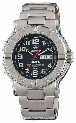 REACTOR Men's 58401 Trident Never Dark Black Dial Titanium Bracelet Sport Watch
