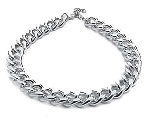 Silvity Damen Kunststoff Kette Statement Glieder Halskette Damen Panzerketten-Collier Farbe: Silber 46 x 2 cm 881001-20