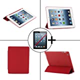 TeckNet® New Apple iPad 4 & iPad 3 (with Retina Display) Smart Case - Front & Back Full Protection Smart Cover with Magnetic Auto Wake Sleep Function - Includes screen protector and stylus pen, Detachable Back cover compatible with Official Apple Smart Cover (Wine Red)