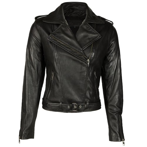 VIPARO Womens Black Asymmetrical NZ Lambskin Leather Biker Jacket - Eliza