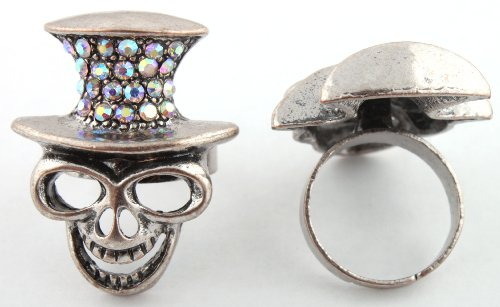 Ladies Black with Clear AB Skeleton Monkey Adjustable Finger Ring with an Iced Out Top Hat