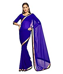 SRP Fashion Selection Women's Georgette Saree (SRP-OF45, Blue)
