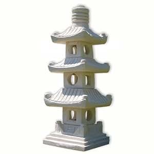 Lampe pagode japonaise blanche 3 niveaux 10511 amazon for Lampe japonaise exterieur