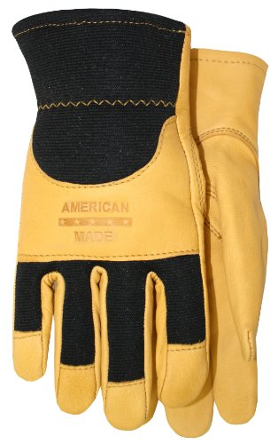 American Made Goatskin Leather Spandex Work Gloves with Knuckle Strap and Leather Palm, 175, Size: Large (Made In Usa Leather Gloves compare prices)