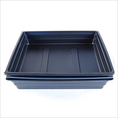 """Plant Germination Drip Trays - Pack of 5 - 10"""" by 10"""" Black Plastic Greenhouse Growing Trays with No Drain Holes - For Seedlings, Microgreens, Wheatgrass, More"""