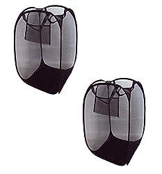 Pindia Fancy Set Of 2 Foldable Random Color Fabric Laundry Basket