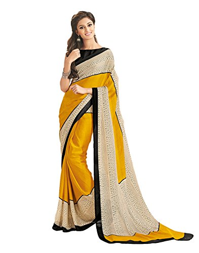 Surat Tex Yellow & Cream Silk Printed Sarees With Blouse Piece