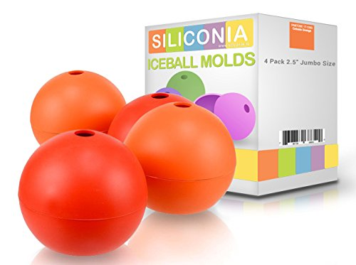 Siliconia Premium Ice Ball Makers 2.5 Inches Set 4 Individual Ice Ball Molds (Ice Ball Maker Macallan compare prices)