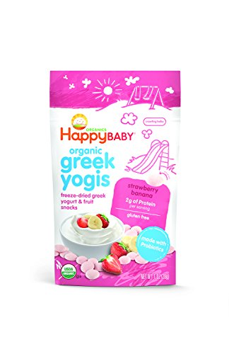 Happy Baby Organic Greek Yogis Freeze-Dried Greek Yogurt and Fruit Snacks, Strawberry/Banana, 1 Ounce (Fruit And Yogurt Snacks compare prices)