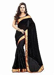 Clothsguru Women's Chiffon Saree with Blouse Piece (Black)