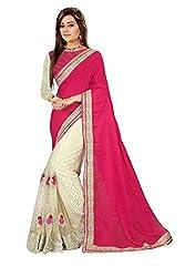Shubhkari Fashion Pink & Off White Chiffon Women's Fancy Saree With Blouse(SF_1019_NAVRATRI_SPECIAL)