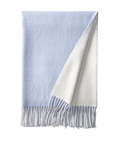 Alicia Adams Alpaca Reversible Throw, Ivory/Light Blue