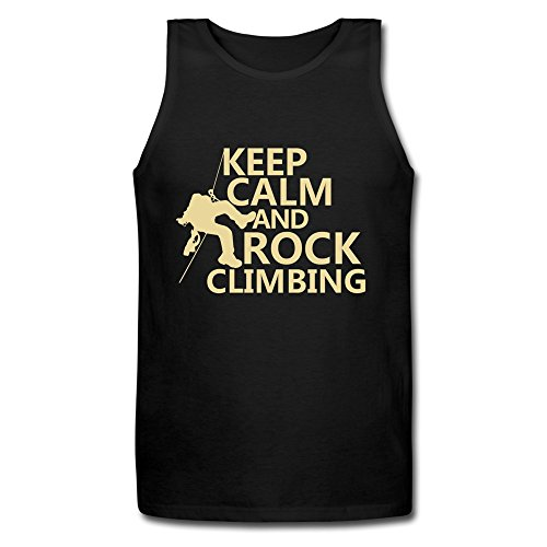 LDMH Men's Keep Calm And Rock Climbing Tank Top Black
