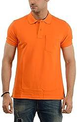 Lead & Ride Men's Polo Neck T-Shirt (101 orange_x-large, Orange, X-Large)