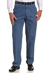 Haggar Men's Work To Weekend Hidden Expandable Waist Denim Plain Front Pant