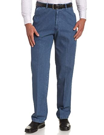 Haggar Men's Work To Weekend No Iron Denim Plain Front Pant  ,Med Stonewash,30x30