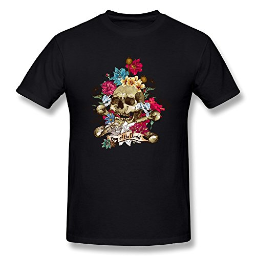 Van Men's Day Of The Dead Rose Flowers Skull T-Shirts Black