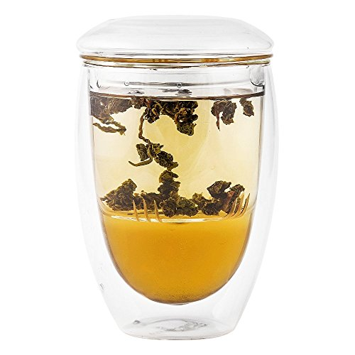 Zen Room All Glass Made Double Glass Tea Infuser & Mug Teapot 13oz Ultra-Clear Borosilicate Glass with Glass Lid and Glass Infuser Heat Resistant and Easy to Clean. (Zen Water Filter Ceramic compare prices)