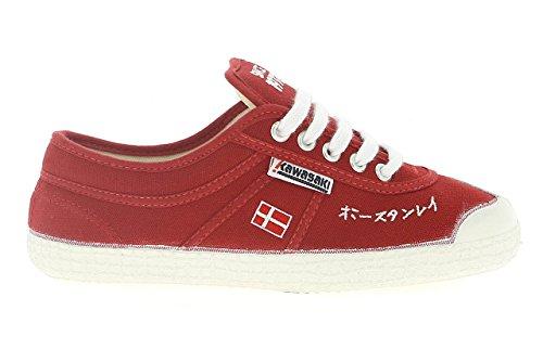 Kawasaki-233RSP-Zapatillas-de-lona-canvas-para-hombre-color-rojo-blanco