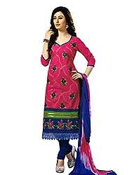 Salwar Studio Pink & Dark Blue Dress Material with Dupatta Simran-3011
