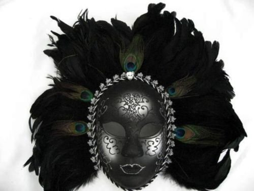 [Peacock Feathers Black Silver Mask Womens Costume Accessory Showgirls Mardi Gras] (Peacock Spider Costume)