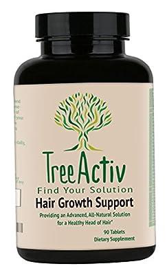 TreeActiv Hair Growth Supplement | Biotin Natural Herbal Vitamin Complex, For Men, Women, Teens, Black (African American), Kids - Best Treatment, Fast Medicine (90 Pills / 30 Day Supply)