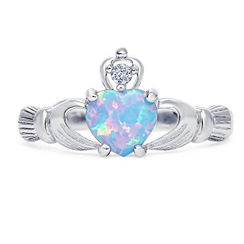 Sterling Silver lab-created Light Blue Opal Claddagh Promise Ring For Her, 8mm