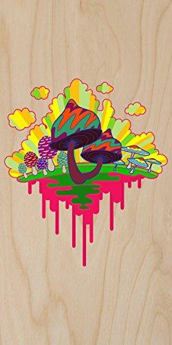 """Drippy Mushrooms"" Funny Hippy Shroom Dripping Design Artwork - Plywood Wood Print Poster Wall Art front-980751"