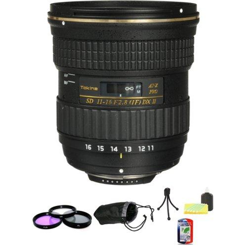 Tokina 11-16mm f/2.8 AT-X116 Pro DX II For Nikon + 3 Piece Filter Kit + 5-Inch Lens Pouch + Mini Tripod Kit