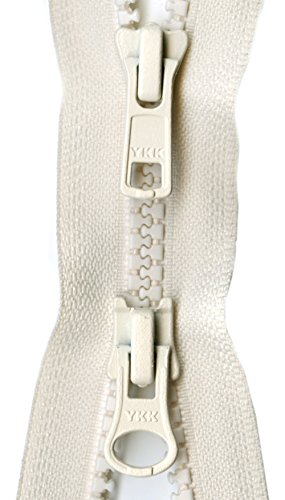"YKK Vislon 2-Way Separating Zipper, 36"", Off White"