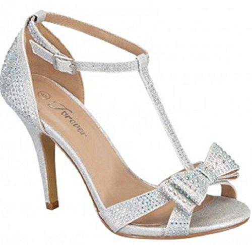 Forever Link Alina-64 Rhinestone Glitter TStrap Bow Detail Formal Heel (7.5, Silver)