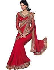 Faux Georgette Saree In Red Colour For Party Wear - B00VO0537A