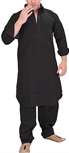 Royal-Kurta-Pathani-Suit-For-Men-Cotton-Linen-Blend-With-Neck-Thread-Embroidery