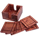 Christmas Gifts Rustic Handcrafted Rosewood Coaster Set with Holder, (4 x 4 x 2 inches) Bar Dining Accessories