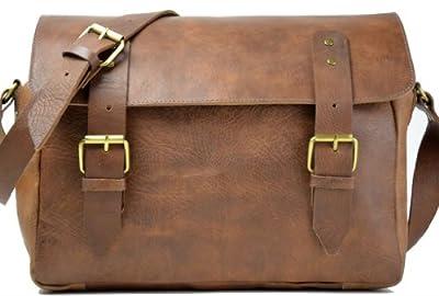 Gusti Genuine Leather Case Shoulder Bag Satchel Business Office Briefcase Vintage College University Campus School Bag Laptop Bag Messenger Bag Unisex U25A