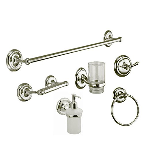Hickarus 1150754 - Bathroom Accessories (6 pcs) - Brushed Nickel