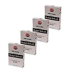 Kangra Valley Khadi Black Herbal Mehndi, 60g each (Pack of 4)