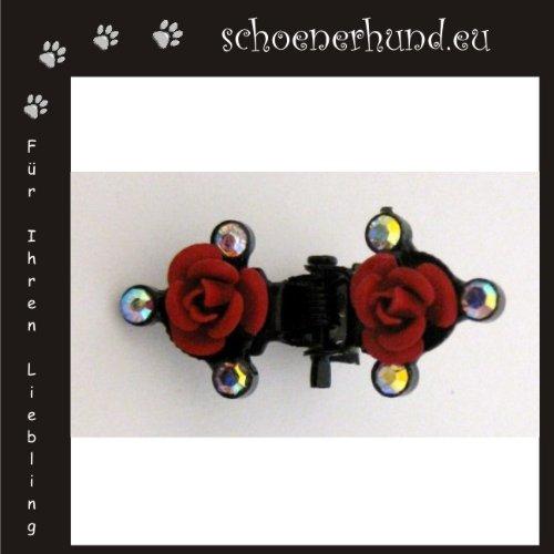 Artikelbild: Haarschmuck für Hunde mit funkelnden Strass - Exklusive Haarspange von Dogs Stars - Perlenschleife rot