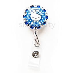 SIZZLE CITY New Custom Made Bling Rhinestone ID Badge Pull Reel Retractable ID Badge Holders (Blue Hello Kitty Nurse)