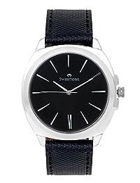 Swisstone Black Dial Black Leather Strap Analog Watch For Men/Boys- ST-GR014-BLK-BLK