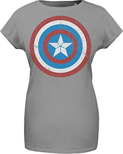 GOZOO The Avengers T-shirt Donna Captain America's Shield 100% Cotone, Stampa di Alta Qualitá Grigio XL