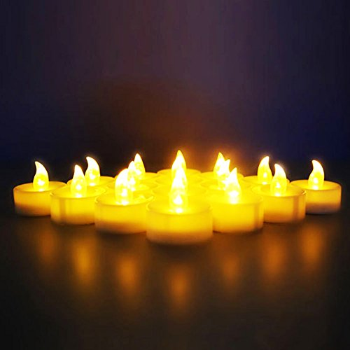 Novelty Place [Longest Lasting] Battery Operated Flickering Flameless LED Tea Light Candles (Pack of (Led Candle Lights)