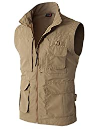 H2H Mens Work Utility Hunting Travels Sports Vest With Multiple Pockets BEIGE US L/Asia XL (KMOV081)